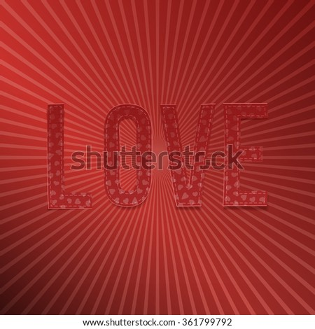Valentines Day red paper Word Love for Your Design - stock vector