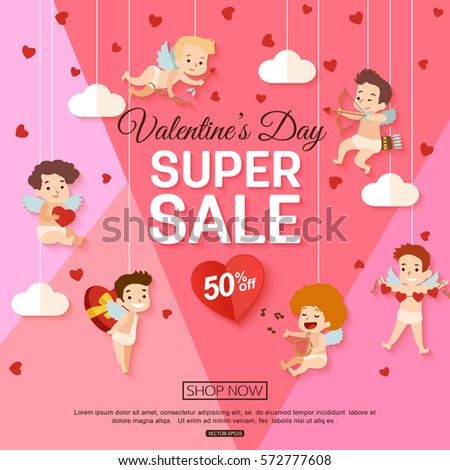 valentines day sale banner cupid online stock vector 572777608, Ideas