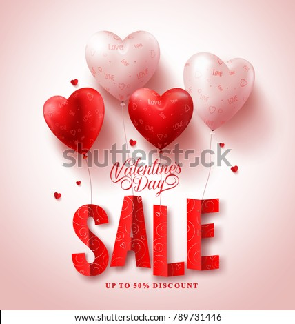 Valentines day sale vector design with red heart shape balloons in white background for valentines season shopping discount promotion. Vector illustration.