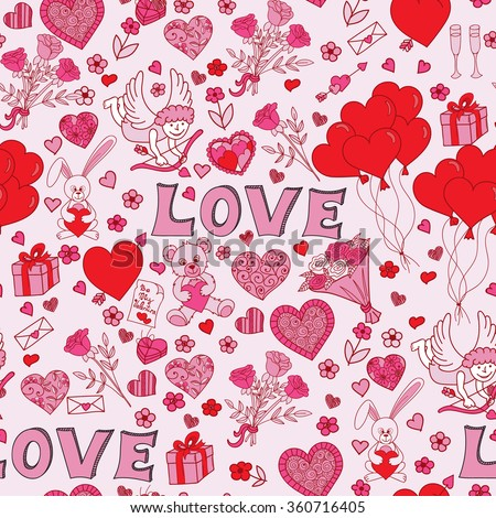 Valentines Day Seamless Pattern Background Love Stock Vector