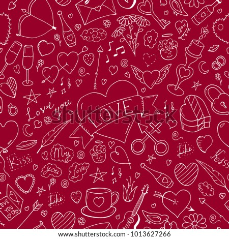 Valentines day seamless pattern - doodle style. Abstract holiday background.