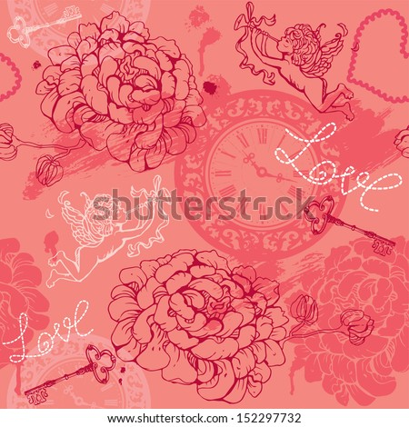Valentines Day seamless pattern with hand drawn Cupid, flowers, keys and watches on pink background. Raster version - stock vector