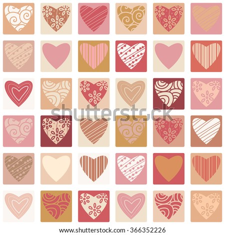 Valentines day seamless patterns with hearts in squares. Mosaic card, tiled ornament. Vector illustration. Valentines day design. - stock vector