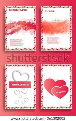 Valentines Day Set . Valentines Day Flyer . Valentines Day Brochure . Valentines Day Cover . Valentines Day Card  . Valentines Day Background . Valentines Day Pattern . Valentines Day Background . - stock vector
