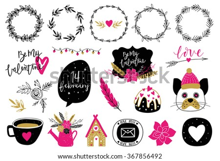 Valentines Day set with florals, love lettering, overlays, speech bubbles and etc. Template for Stickers, Greeting Scrapbooking, Congratulations, Invitations, Planners. - stock vector