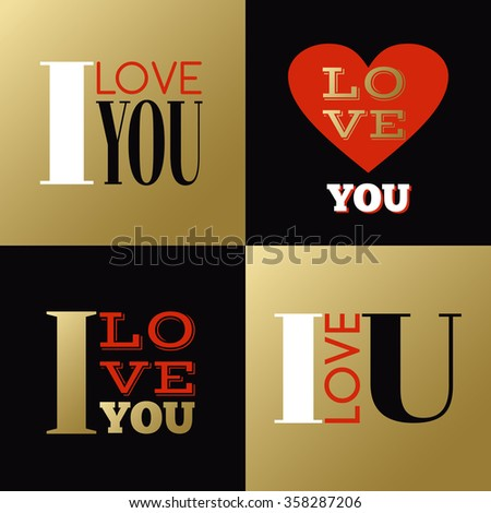 Valentines Day small greeting cards or labels with declarations of love - stock vector