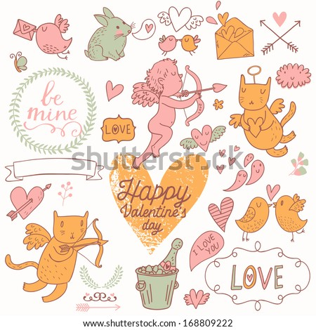 Valentines Day stylish vector set in romantic colors. Cute Cupids, cat, rabbit, birds, champagne, envelopes, hearts and other design elements - stock vector
