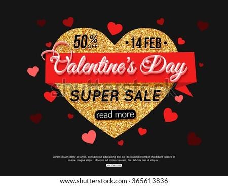 Valentines Day Super Sale Banner. Gold Heart Banner. Gold Sale Banner. Template for advertising poster, brochure, flyer, banner, header, poster. 50% Discount Banner. 14 feb. Holiday Banner. - stock vector