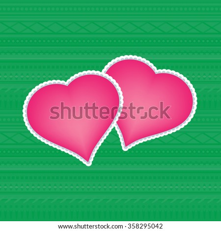 Valentines day - two hearts - vector illustration. Image on pink and green colors. - stock vector