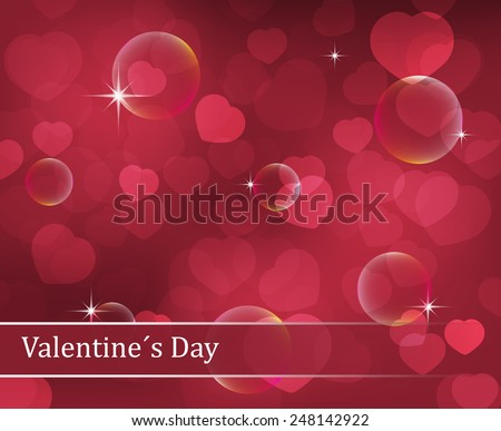 Valentines Day vector background with hearts, stars and bubbles/illustration for your valentine greeting or wish - stock vector