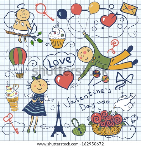 Valentines day vector set, romantic doodle illustration - stock vector