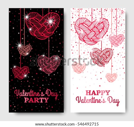 valentines day vertical posters with twisted red hanging hearts vector illustration glowing invitation template - Valentines Posters