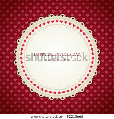 Valentines day vintage card vector background eps 10 - stock vector