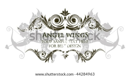 Valentines day vintage frame with angels - stock vector