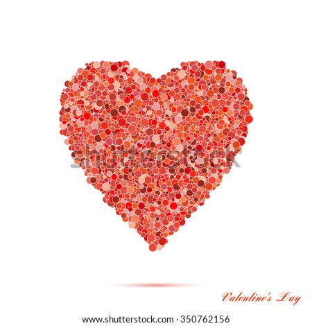 Valentines day vintage red heart with circles. Vector background EPS10 - stock vector