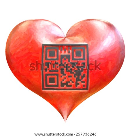 Valentines heart with QR code isolated on white background. QR code with encrypted text - I Love You!. Trace raster illustration. Oil painted effect. - stock vector