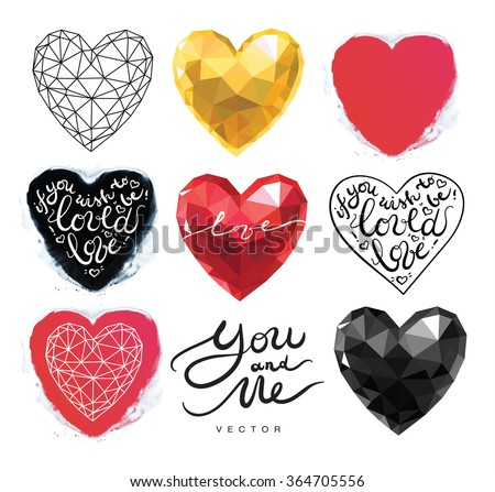 Valentines hearts set in polygonal origami mosaic geometrical 3d style with watercolor handmade splashes, with lettering about love. gold, black, red, pink color. wireframe style. - stock vector