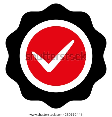 Valid icon from Competition & Success Bicolor Icon Set. This isolated flat symbol uses modern corporation intensive red and black colors. - stock vector