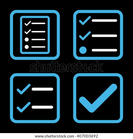 Valid vector bicolor icon. Image style is a flat icon symbol inside a square rounded frame, blue and white colors, black background. - stock vector