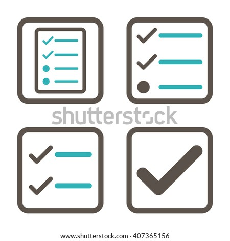 Valid vector bicolor icon. Image style is a flat icon symbol inside a square rounded frame, grey and cyan colors, white background. - stock vector