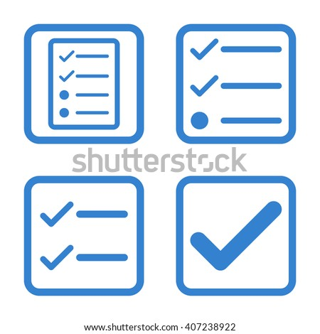Valid vector icon. Image style is a flat icon symbol inside a square rounded frame, cobalt color, white background. - stock vector