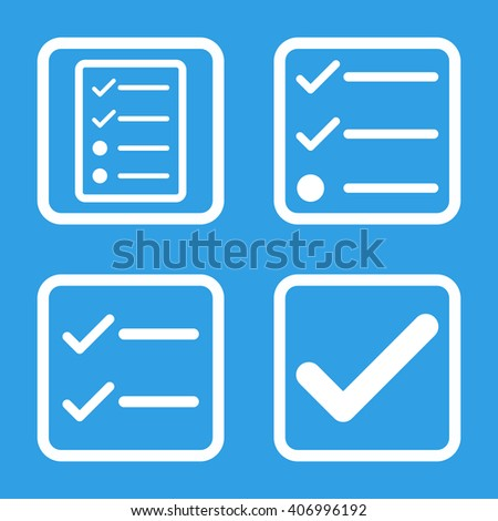 Valid vector icon. Image style is a flat icon symbol inside a square rounded frame, white color, blue background. - stock vector