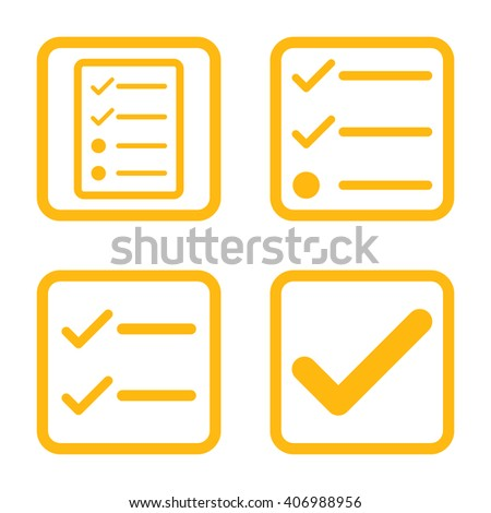 Valid vector icon. Image style is a flat icon symbol inside a square rounded frame, yellow color, white background. - stock vector
