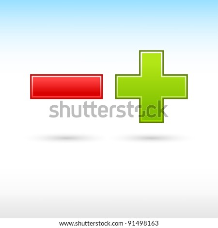 Validation button red minus and green plus web icon mathematical sign with shadow on white background - stock vector