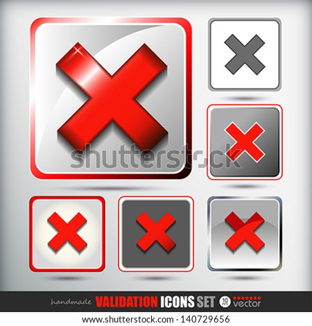Validation icons set.  Vector eps 10 Illustration.   - stock vector