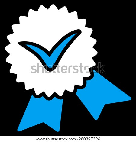 Validation seal icon from Competition & Success Bicolor Icon Set on a black background. This isolated flat symbol uses light blue and white colors. - stock vector