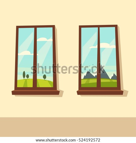 Open door valley landscape cartoon vector stock vector for Window design cartoon