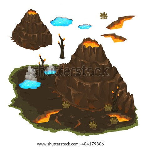 Valley of volcanoes and geysers on a white background. Vector illustration. - stock vector