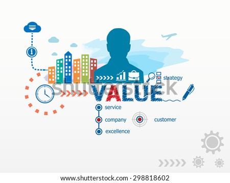 Value concept and business man. Flat design illustration for business, consulting, finance, management, career. - stock vector