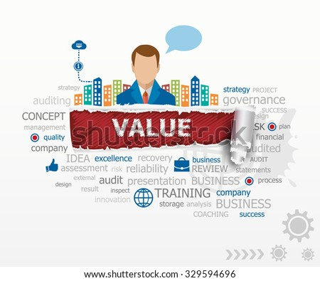 Value concept and business man. Value design illustration concepts for business, consulting, finance, management, career. - stock vector