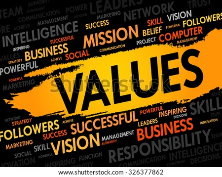 VALUES word cloud, business concept - stock vector