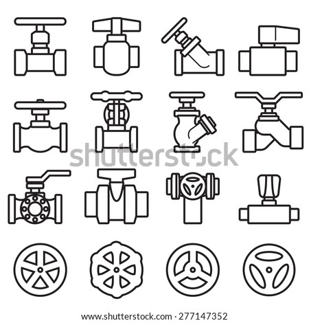 Valve and Taps icon set - stock vector