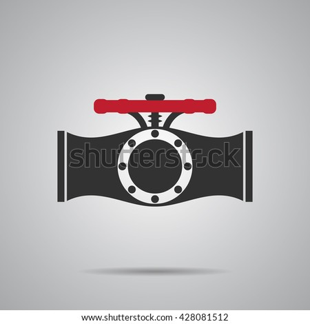 Valve Gas Pipe Taps Icon. Pipe line Valve red Vector Illustration - stock vector