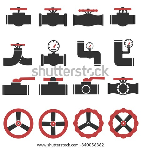 Valve Gas Pipe Taps Icon Set - stock vector