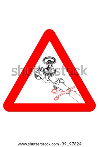 Valve with scissors sign - vector illustration - stock vector