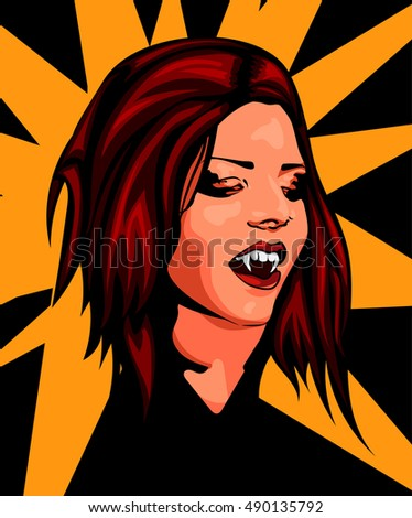 Vampire beautyful woman, red hair, open mouth, predatory vampire fang, haloween's vector image.
