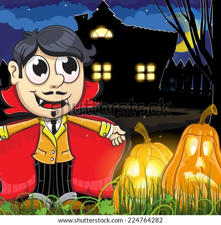 Vampire boy and Jack-o-lanterns near the haunted house. Abstract Halloween background - stock vector