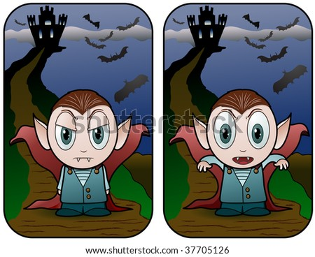 Vampire Boy in front of castle - vector illustrations