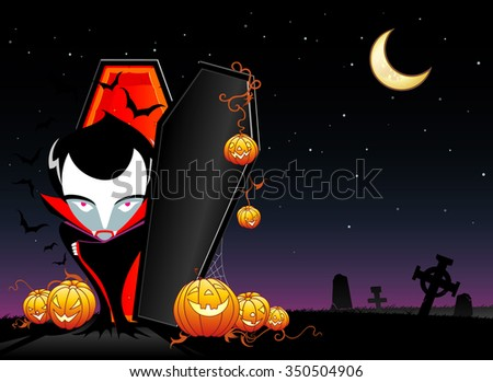 Vampire has Awakened-Opened coffin and Jack O Lanterns on a graveyard site - stock vector