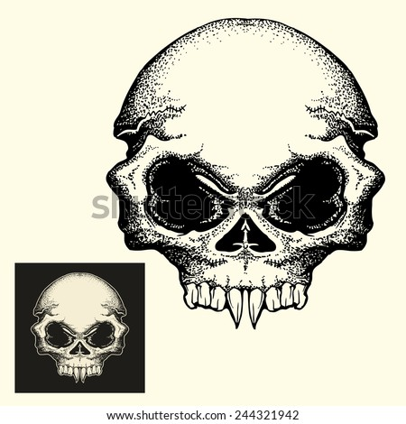 Vampire head skull in dark and inverted color isolated  - stock vector