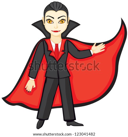 Vampire in a suit and a red cloak