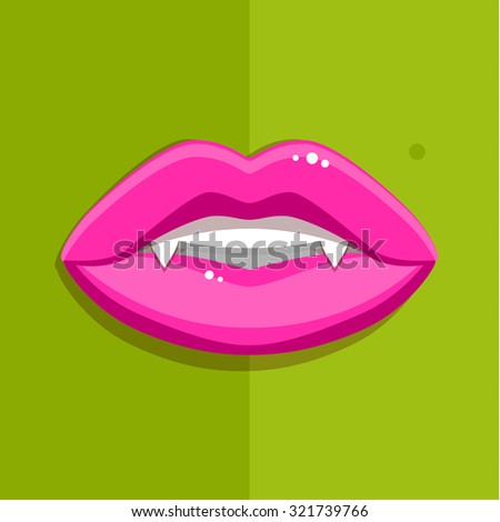 Vampire mouth with open red lips and long teeth on green background. Halloween Background. Vector Illustration. - stock vector
