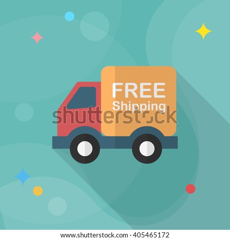 Van and Shipping icon, Vector flat long shadow design. Transport concept. - stock vector