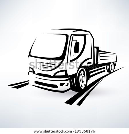 van, bulk cargo transport outlined vector sketch - stock vector