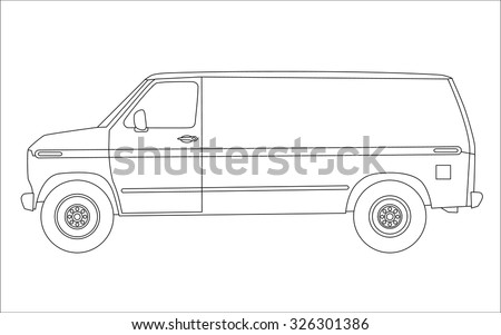 Van silhouette on white background. Vector.