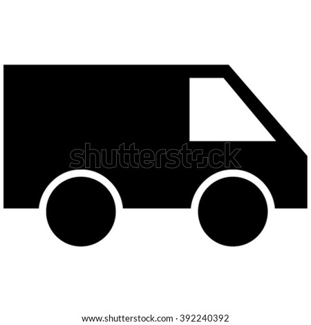 Van vector icon. Style is flat icon symbol, black color, white background.